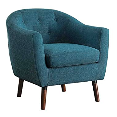 Homelegance Lucille Fabric Upholstered Pub Barrel Chair, Blue