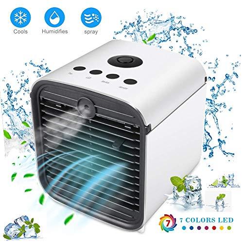Nifogo Tragbare Klimaanlage Luftkühler,Mini Luftkühler Mobile Klimageräte,Luftbefeuchter&Luftreiniger Ventilator mit USB Anschluß 3 Stufen und 7 Farben LED Nachtlicht (Weiß)