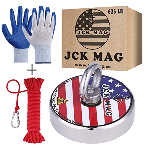 JCK MAG Magnet Fishing Kit 625 LB Pulling Magnet with Gloves, Nylon 65ft Rope and Carabiner - Thread Locker Installed, Strong Neodymium Fishing Magnets for Retrieving in River