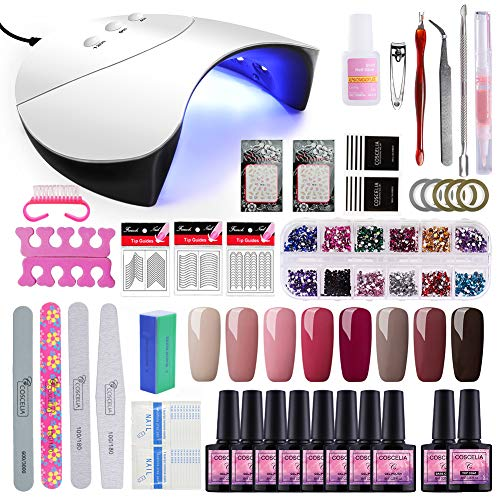 Saint-Acior 36W UV Lámpara LED Secador de Uñas kit Uñas de Gel 8pcs Esmalte...