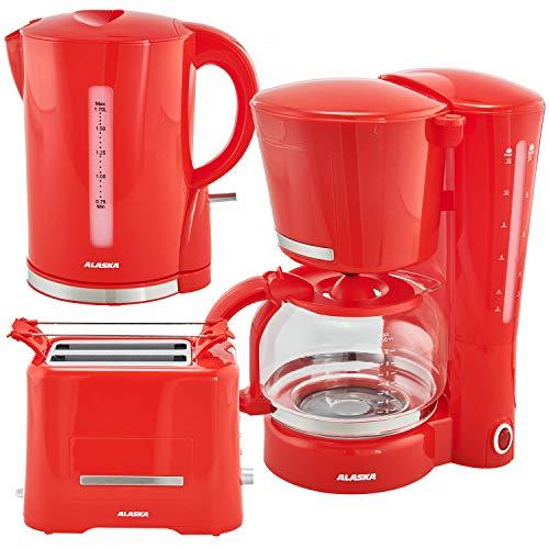 Alaska Frühstücksset 3 in 1 2209 | Wasserkocher Toaster Kaffeemaschine rot | 3 teilige Kombination im retro Vintage Stil | Filtermaschine mit Glaskanne für 12 Tassen