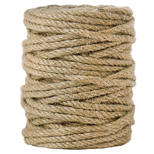 Tenn Well 5mm Jute Twine, 100 Feet 4Ply Twisted Heavy Duty and Thick Twine Rope for Gardening, Crafting, Packing, Bundling and Home Decor