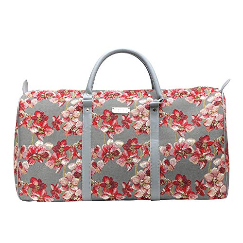 Signare Tapestry Large Duffel Bag Overnight Bags Weekend Bag for Women with Flora Design (Orchids BHOLD-ORC)