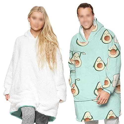 HGYJ Suéteres de Manta Estampados para Hombres y Mujeres, Pijamas Que se Pueden Usar en Ambos Lados, Ropa de hogar de Manga Larga de otoño e Invierno,Green