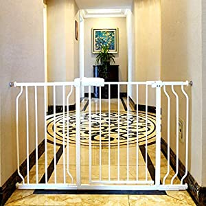 ALLAIBB Extra Wide Pressure Mount Baby Gate Auto Close White Metal Child Dog Pet Safety Gates with Walk Through for Stairs,Doorways,Kitchen and Living Room 62.2-66.9 in (48.03-52.76″/122-134cm)