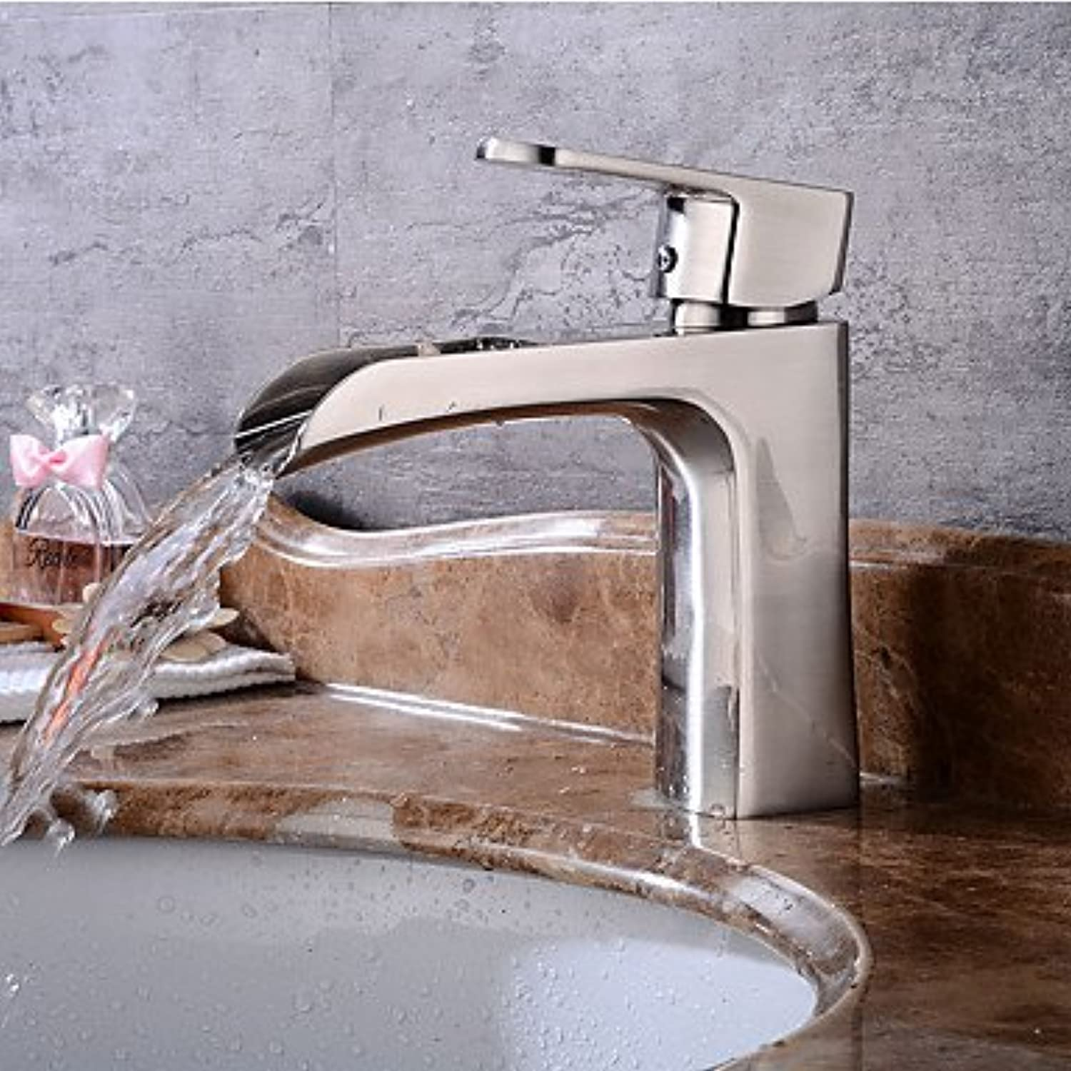 Contemporary Centerset Pre Rinse Waterfall Widespread withCeramic Valve Single Handle One Hole forNickel Brushed , Bathroom Sink