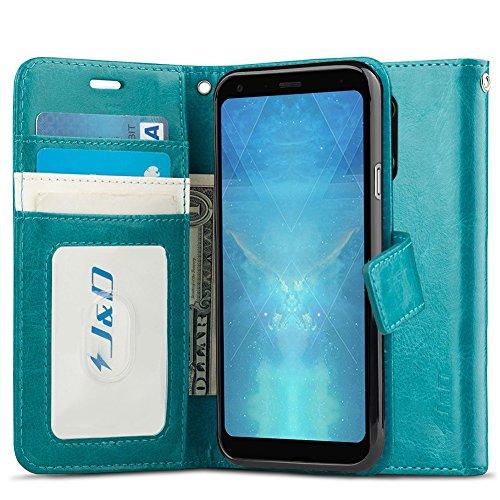 JundD Kompatibel für LG Q7/LG Q7+/LG Q7α Leder Hülle, [Handytasche mit Standfuß] [Slim Fit] Robust Stoßfest PU Leder Flip Handyhülle Tasche Hülle für LG Q7, LG Q7+, LG Q7α Hülle - Türkis