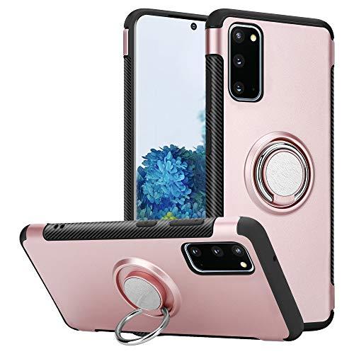 Jakob's Funda para Samsung Galaxy S20, color rosa con anillo plateado, función atril, rotación de 360 grados, marco para 6,2 pulgadas, soporte para el dedo del coche para Samsung