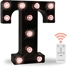 Obrecis LED Wall Letters Lights Alphabet, Diamond Bulbs Marquee Letters with Lights Remote Control Night Light for Bar, Christmas Party Decorations - Black Letter T