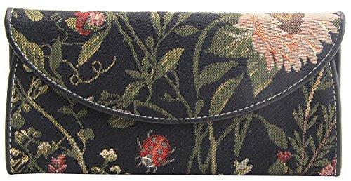 Signare Tapestry Arazzo portafoglio donna, portatessere donna, portafogli donna, Lady Wallet con Disegni da Giardino (Mattina Giardino Nero)