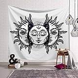 N / A Blanco Negro Sol Luna Mandala Tapiz Tapiz Celestial Tapiz de Pared Hippie Alfombras de Pared Dormitorio Decoración Tapiz psicodélico P4 150x200cm