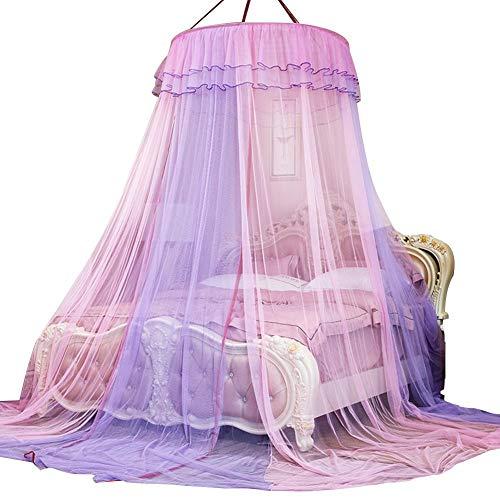Wilecolly Mosquitera de Dos Colores, Cama de Encaje de Princesa de Lujo para jardín, Cuna, Tienda de Anillo Redondo, mosquitera Adecuada para Cuna, Cama Individual, Cama Doble(粉 紫)