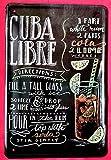 Froy Wandtafel Cuba Libre Rezept Cocktail Wand Blechschild