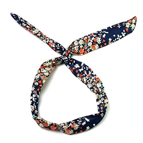 Haarband Haartuch mit Blütenmuster und Draht zum Verbiegen (dunkelblau)
