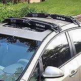 SmartSpec, portapacchi per tettuccio auto, morbido, pieghevole, 2 pezzi, nero, facile da caricare, 60 kg, universale, per tavola da surf, kayak, paddleboard, snowboard