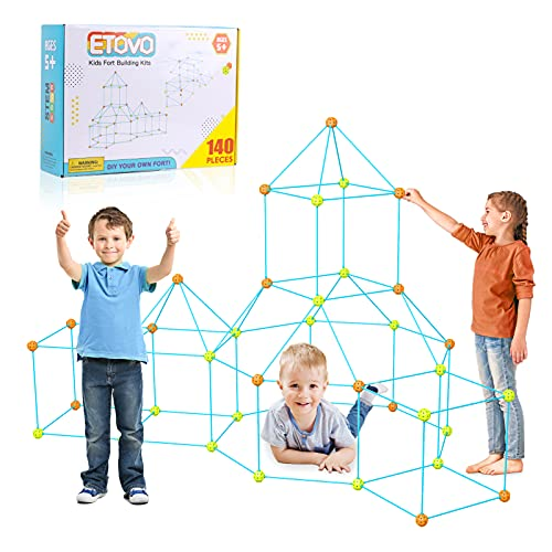 ETOVO Kids Fort Building Kit 140 Pieces Ultimate Construction Fort Builder Kits Gift STME Toys for...