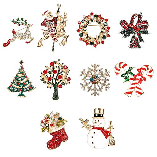 Tagaremuser 10 Pieces Christmas Brooch Pin Set Rhinestone Crystal Christmas Brooch Pins Christmas Jewelry Gift