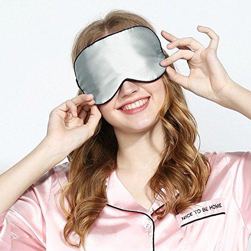Schlafmaske, 100% Seide Augenmaske für Reisen Schlaf mit Verstellbaren Trägern, Super Weiche und glatte Augenklappe Cover für Männer Frauen - Silber grau