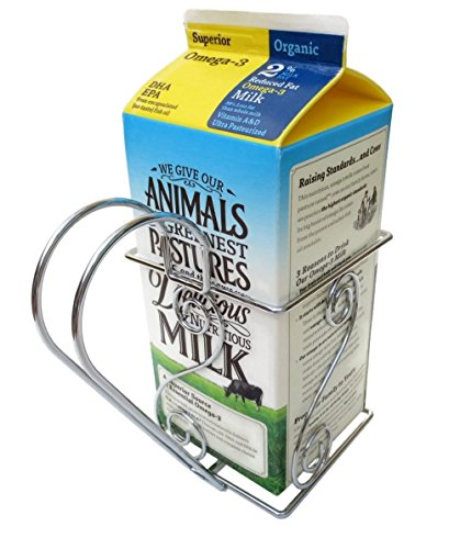 Cara's Casa Half Gallon Juice or Milk Carton Holder - Elegant, Easy Grip Holder Makes Pouring Trouble-Free. Sturdy Metal Construction. Nice for Home Kitchen Gifts and Housewarming Gift Ideas.