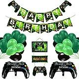 Vubkkty Geburtstag Deko für Junge, 50Pcs Videospiel Party Banner Supplies Set, Gamecontroller-Ballons & Grüne Schwarze Ballons, Happy Birthday Game ON Welcome Hängendes Videospiel Thema für Kinder