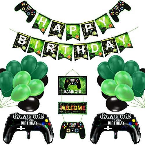 Alles Gute zum Geburtstag Banner und Ballons 50Pcs Videospiel Party Banner Supplies Set Gaming Party Dekoration HAPPY BIRTHDAY GAME ON WELCOME Hängendes Videospiel Thema für Jungen