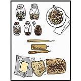 Centeno Pan Moderno NóRdico Poster HD ImpresióN Cocina Pared Arte Pan Cuadros Minimalista Restaurante Cocina Hogar Decoracion Lienzo Pintura 40x60cm No Marco