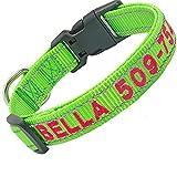Didog Collar de Perro Bordado Personalizado con Nombre de Mascota y número de teléfono, Collar de Perro Reflectante para Perros pequeños y medianos Grandes, Collar Verde, Hilo Rosa Caliente