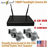 ZEUS CCTV Floodlight Surveillance Camera Kit with 8CH Standalone NVR System + 4 Twist in Flood Light Cameras Complete Install Kit (Proudly Assembled in The USA)
