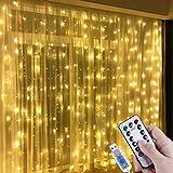 Lichtervorhang Aussen 3x3m,300 LEDs USB Vorhang lichterkette, Weihnachtsdeko Fenster Beleuchtet 8...
