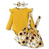 ZOEREA Conjunto Bebé Niña 0-3 meses Recien Nacido Ropa Manga Larga Mameluco con Volantes Mono Body + Falda de Tirantes Floral + Diademas Amarillo