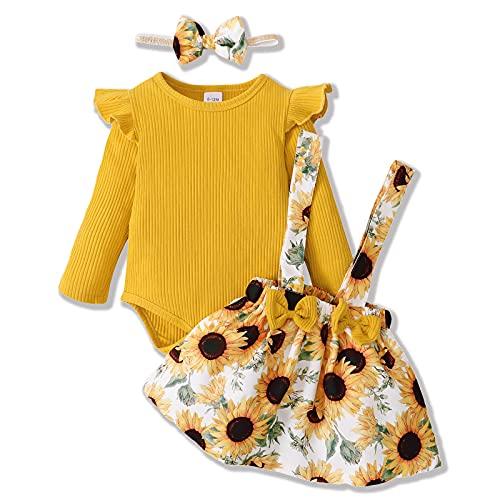 ZOEREA Conjunto Bebé Niña 3-6 meses Recien Nacido Ropa Manga Larga Mameluco con Volantes Mono Body + Falda de Tirantes Floral + Diademas Amarillo
