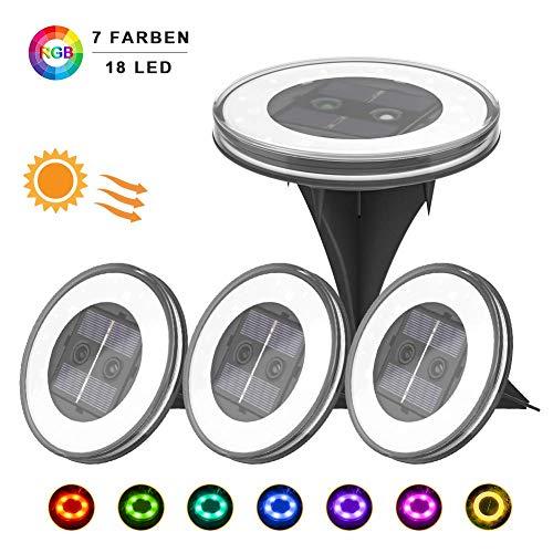 4 Pezzi Luce Sepolta Solare, UOUNE 18 LED Lampade da Giardino Solari,Due modalità,IP67 Impermeabili,800mAh Batteria Integrata,100LM Paesaggio Illuminazione Lampada(Bianco Caldo)