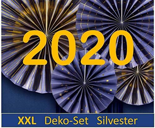 Feestelijke viering XXL Nieuwjaar deco Silvester 2020 Decoratieset blauw goud zilver metallic 30 delen Decoratie Silvesterfeest