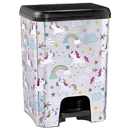 TODO HOGAR | Cubo de Basura con Pedal | Capacidad de 26 litros | Pedal automático | Decorado Unicornios | Cubo de Basura Cocina | Piezas Extraíbles | Limpieza Fácil |