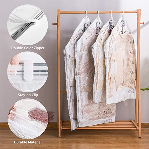 Hanging Vacuum Space Saver Bags for Clothes Vacuum Storage Coat Bags No Pump Needed 4 Pack Vacuum Seal Compression Bags for Suits Dress Coats Jackets Clothes(2 Long 53x27.6 in & 2 Short 41.3x27.6 in)