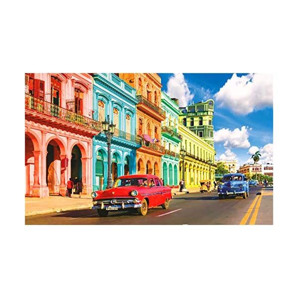 Jigsaw Puzzles for Adults 500 Piece Great View in Colorful Havana Street Cuba 500 Pieces Puzzle for Toy Family Game Gifts