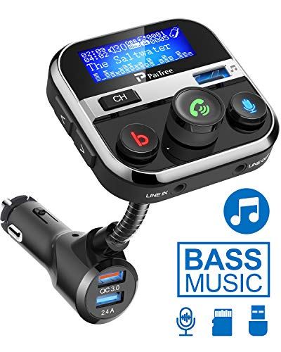 Bluetooth FM Transmitter for Car, PaiTree Car Adapter with Super Bass Stereo Sound, QC3.0 Fast Charger 5.0 Bluetooth Receiver Wireless Radio Music Player Car Kit Hands-Free Calls Siri Assistant
