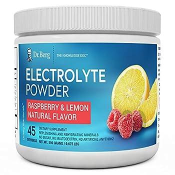 Dr Berg s Original Electrolyte Powder - Hydration Drink Mix Supplement - Boosts Energy & Keto-Friendly - NO Maltodextrin & Sugar-Free - No Ingredients from China - Raspberry Lemon Flavor 45 Servings