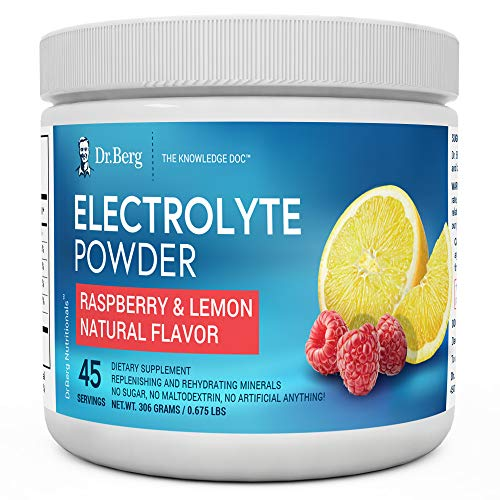 Dr. Bergs Original Electrolyte Powder - Hydration Drink Mix Supplement - Boosts Energy & Keto-Friendly - NO Maltodextrin & Sugar-Free - No Ingredients from China - Raspberry Lemon Flavor 45 Servings