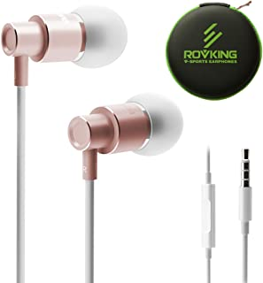 ROVKING Wired Earbuds with Mic and Case, Lightweight Ergofit in Ear Headphones, Metal Ear Buds Stereo Bass Earphones Compatible with iPhone iPod iPad Samung Android Cell Phone Laptop Tablet Rose Gold
