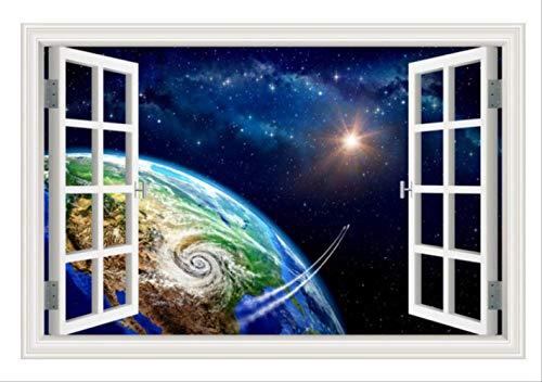 Etiqueta De La Pared 3D Ventana Paisaje Salys Decoración Para El Hogar Calcomanías Espacio Exterior S Planet Galaxy Wallpaper Decoración Para El Hogar Sala De Estar Arte De La Pared 60X90Cm