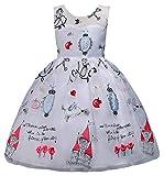 Happy Cherry - Vestido Infantil para Niñas Vestido de Dama de Honor de Boda sin Mangas Traje de Ceremonia Navidad Halloween 7-9 años - Blanco