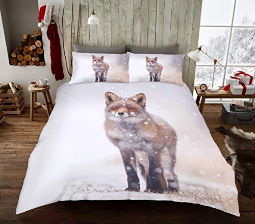 National Textile Ltd (WINTER FOX Duvet Set Printed Bed-linen, Easy Care Duvet Cover Bed set With Pillow cases (Single)