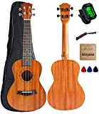 Vizcaya UK23C-MA Concert Ukulele Mahogany 23 inch with Ukulele Accessories,Gig Bag,Strap,Nylon String,Electric...