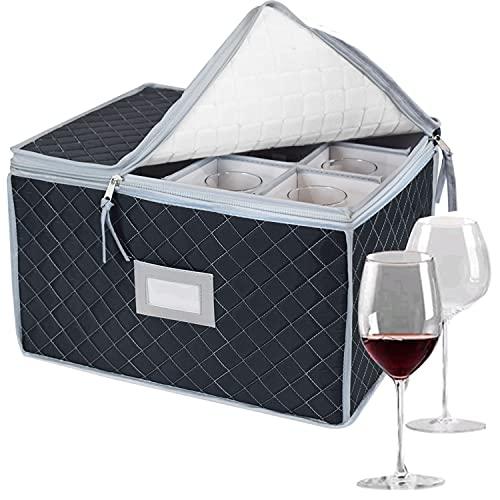 Caja de almacenamiento para copas de champán, copas de palo, copas de vino, recipiente de almacenamiento, plegable, con separadores para 12 productos de cristal, copas de champán, color gris