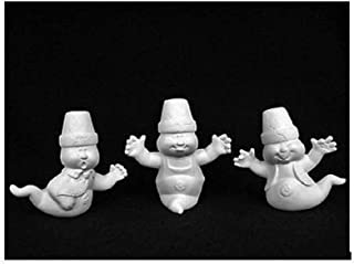 Dona's Cracked Pot Spooks Ghosts (Set of 3) for Halloween - Ready to Paint (Unpainted) Ceramic Bisque - Handcrafted in The USA