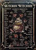 Cartel retro de lata con diseño de bruja de cocina de brujería de metal, estilo retro, estilo de herrumbre, decoración de la casa, cartel de metal, 20 x 30 cm