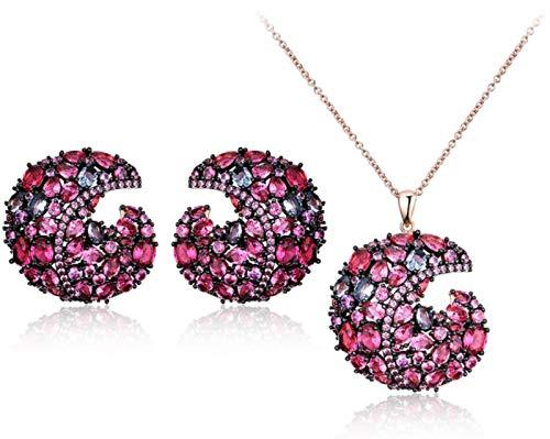 XIRENZHANG Juego de joyas de plata de ley 925, piedras preciosas de colores, colgante de diamante, pendientes, accesorio para mujer