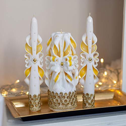 Velas de boda en oro amarillo y blanco: una sola vela tallada para la ceremonia de la iglesia y la decoración de la boda