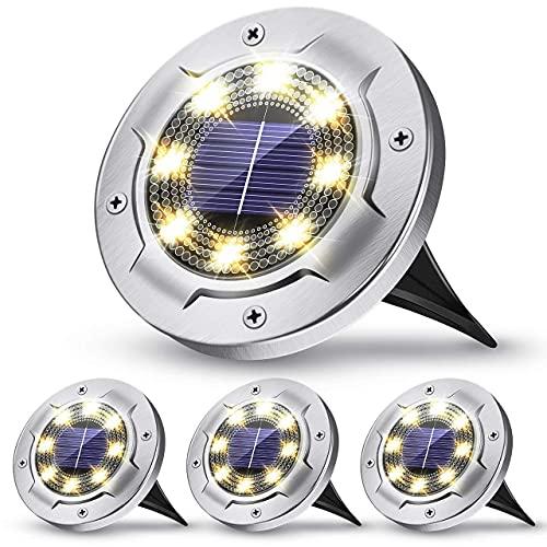 Luces solares de suelo mejoradas, Claoner Luces de camino solares con IP65 a prueba de agua, 8 luces LED de jardín al aire libre con energía solar para camino, césped, patio, jardín, blanco frío (paqu